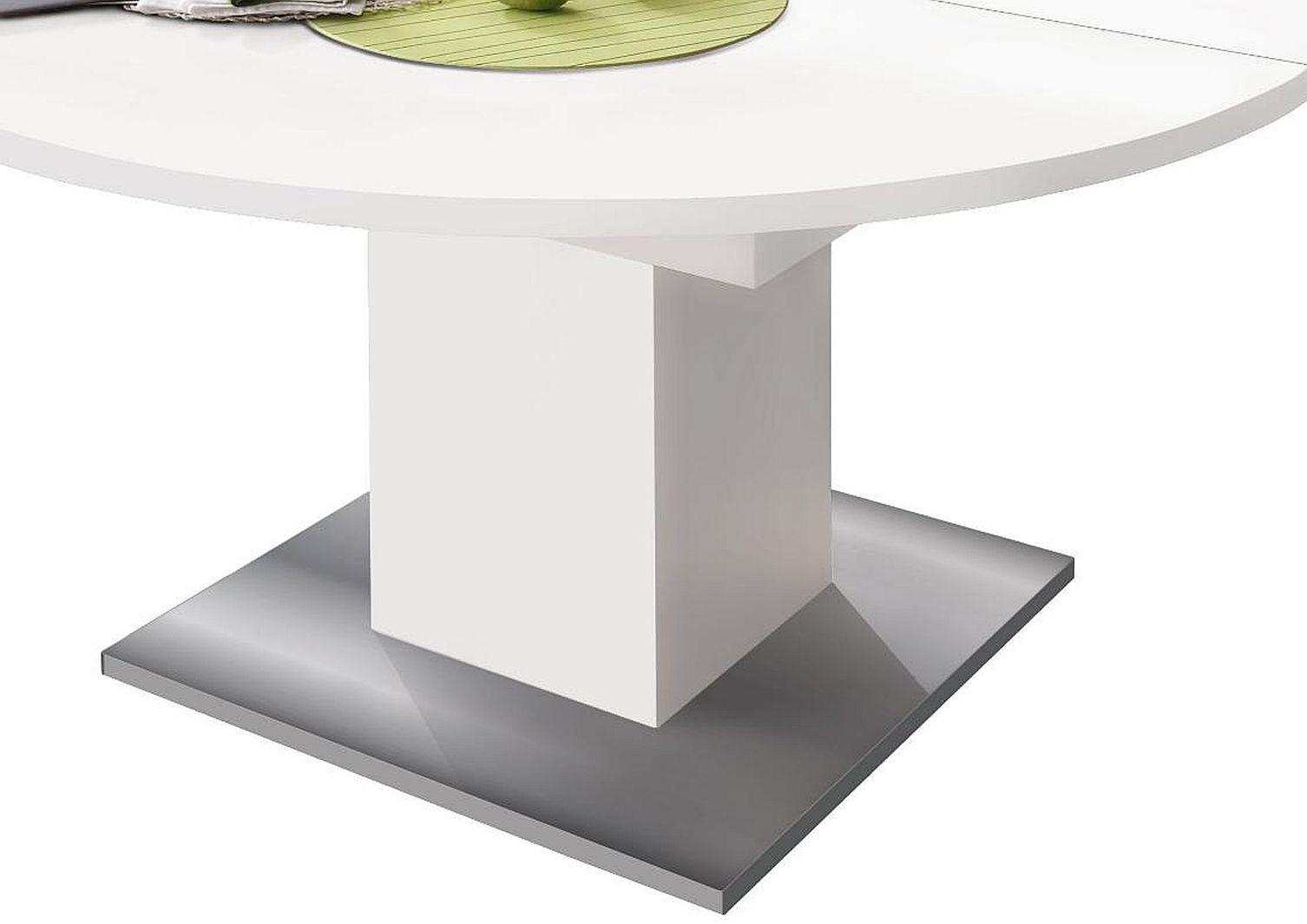 esstisch rund 0588 120 weiss matt edelstahloptik online kaufen. Black Bedroom Furniture Sets. Home Design Ideas