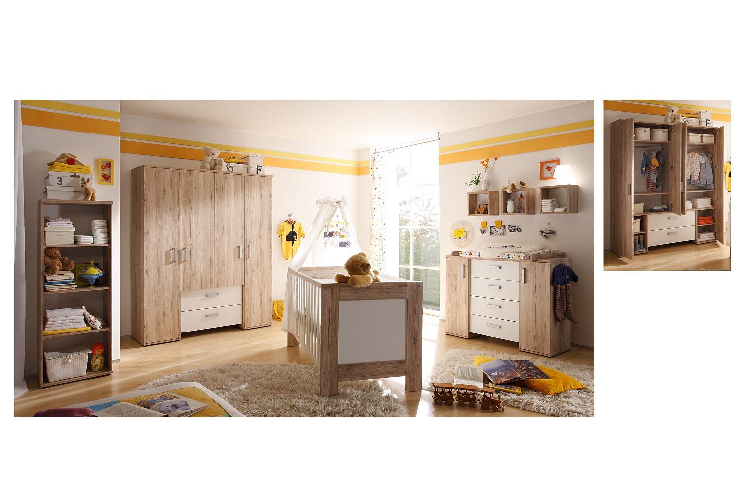 zwillingszimmer twin set 4 sanremo hell weiss matt 9 tlg. Black Bedroom Furniture Sets. Home Design Ideas