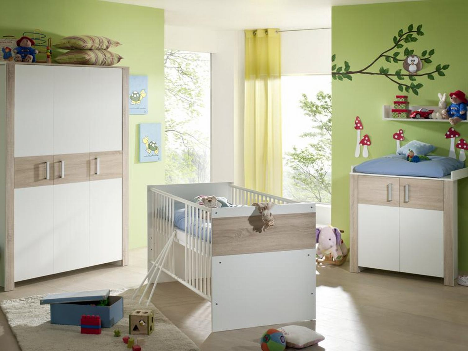 babyzimmer kinderzimmer zwillingszimmer zwillingsbett neu. Black Bedroom Furniture Sets. Home Design Ideas
