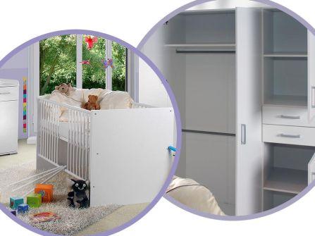Babyzimmer Isabel Weiss/Flieder 8 tlg.