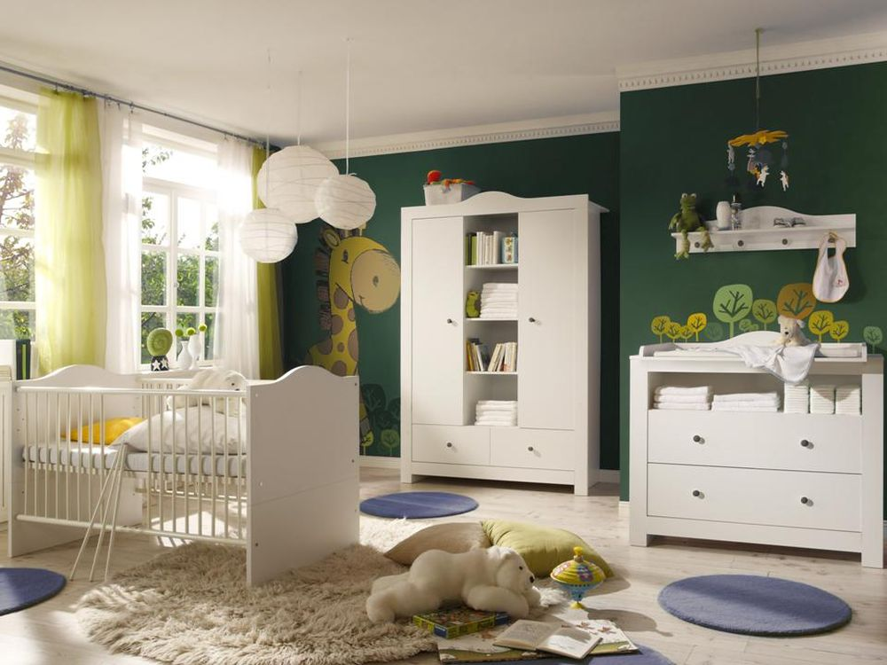 babyzimmer lucca 2 weiss weiss 5 tlg kinderzimmer komplett babyzimmer komplett ebay. Black Bedroom Furniture Sets. Home Design Ideas