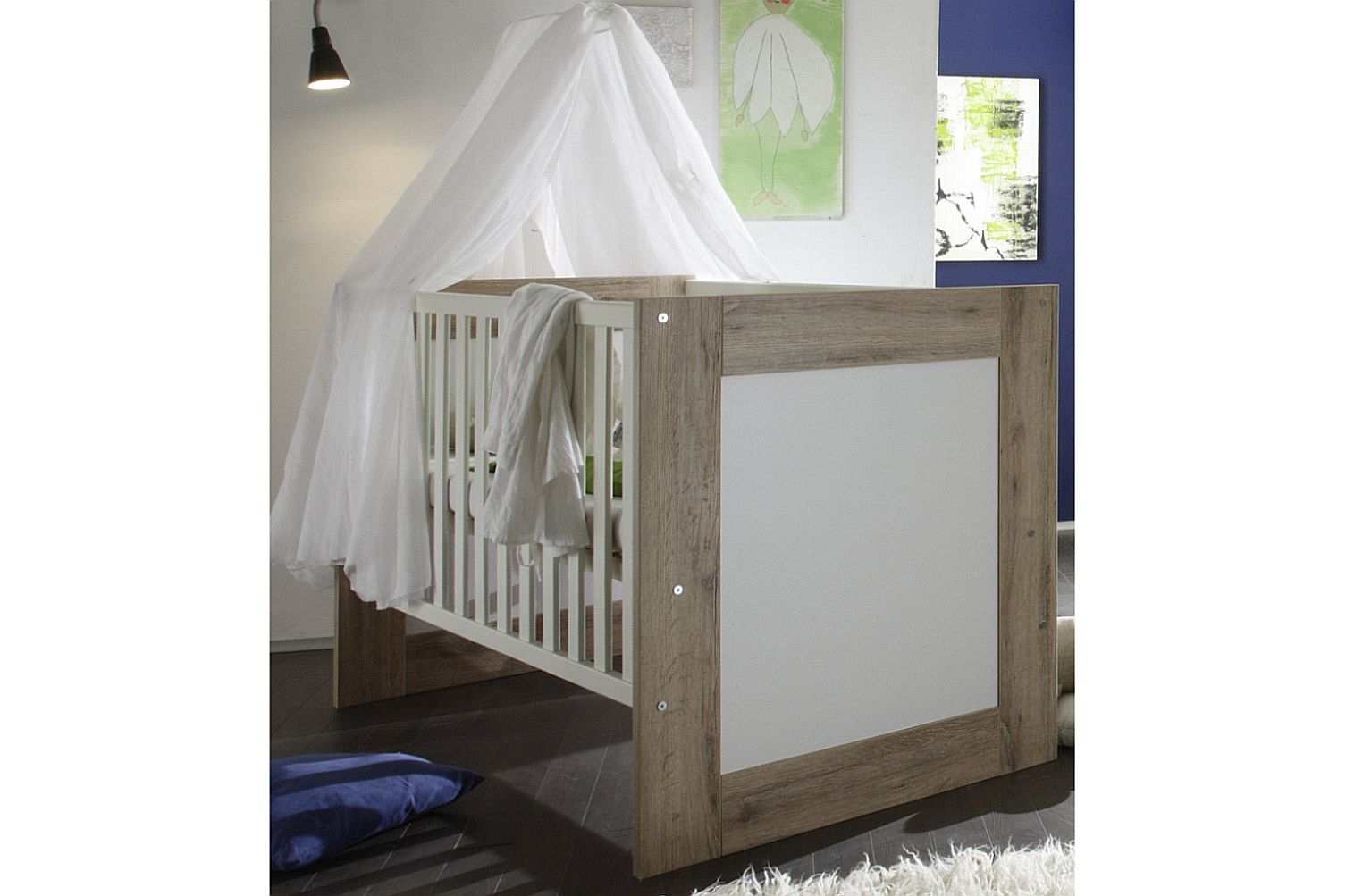 kinderbett bett babybett gitterbett umbaubar erweiterbar. Black Bedroom Furniture Sets. Home Design Ideas