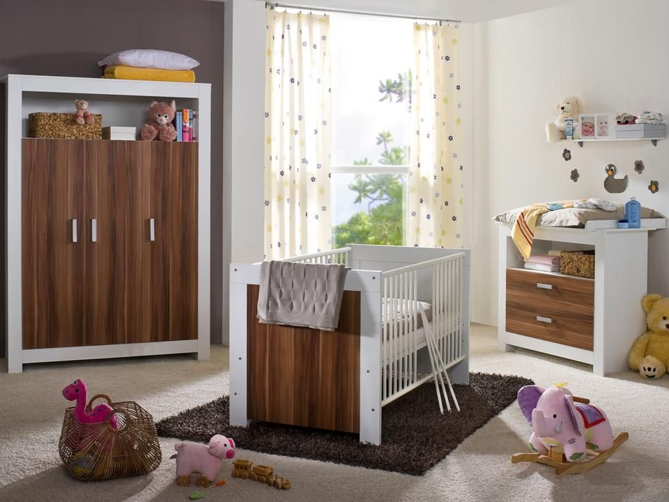kinderzimmer babyzimmer komplett baby erstausstattung babybett walnuss 3trg set ebay. Black Bedroom Furniture Sets. Home Design Ideas