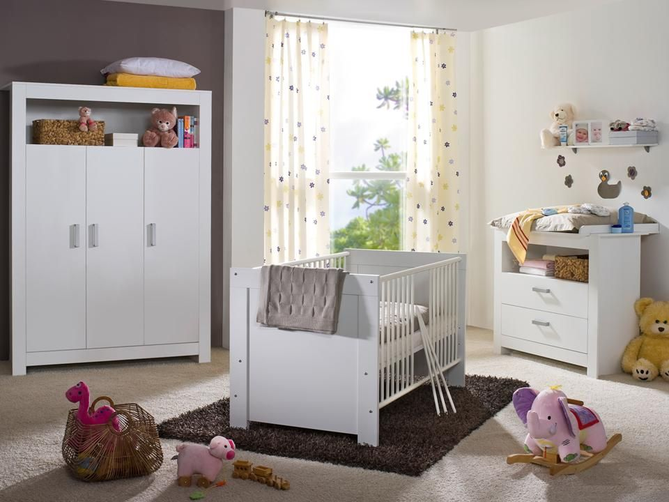 babyzimmer komplett kinderzimmer baby erstausstattung babym bel 3 trg weiss neu ebay. Black Bedroom Furniture Sets. Home Design Ideas
