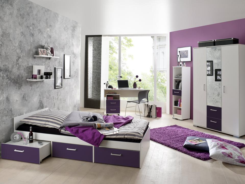 jugendzimmer komplett schreibtisch bett kinderzimmer jugendbett steffi lila ebay. Black Bedroom Furniture Sets. Home Design Ideas