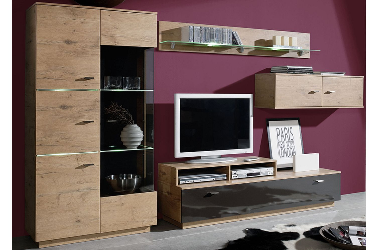 wohnzimmerschrank anbauwand schrankwand wohnwand wohnwand wei wohnwand neu ebay. Black Bedroom Furniture Sets. Home Design Ideas
