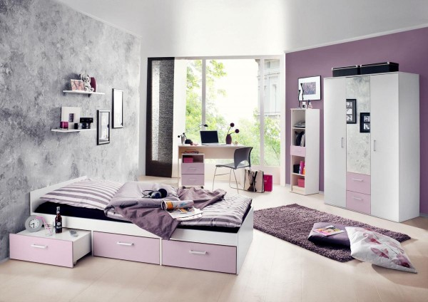 Jugendzimmer Berlin weiß matt flieder 6-tlg. EAN 4260498522767