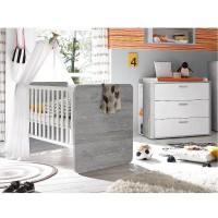 Babyzimmer Frieda Set 2 vintage wood grey weiß matt lack 5 tlg.
