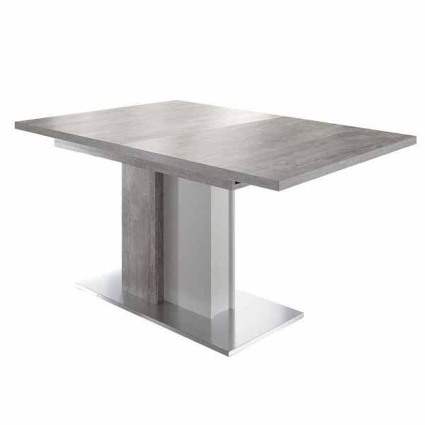 Esstisch Jump 0556/160-210 beton/weiss matt / edelstahloptik