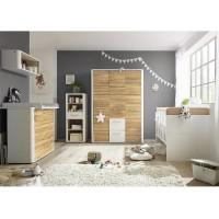 Babyzimmer f. Zwillinge Rio Set 6 weiß matt lack wildeiche geölt 5tlg.