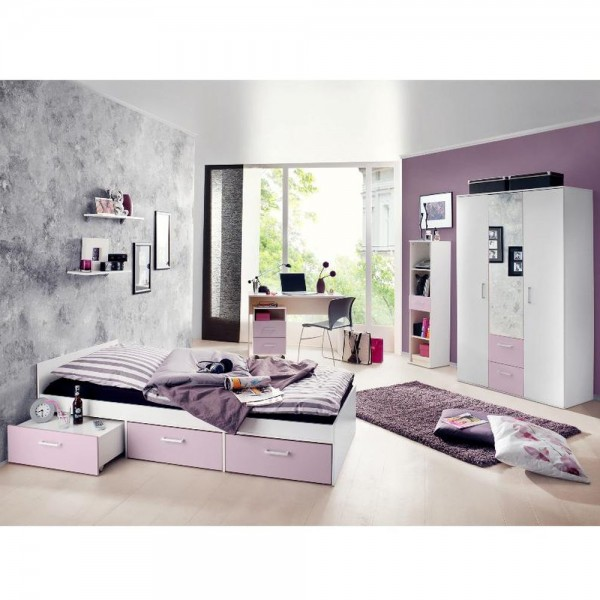 Jugendzimmer Steffi Restposten ohne Rollcontainer/Tisch/Ablage weiß flieder 3tlg