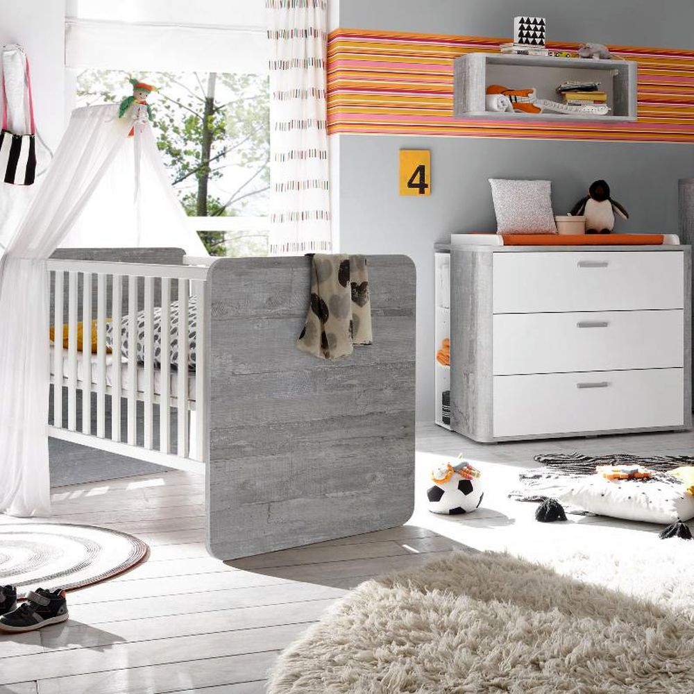 babybett und wickelkommode set frieda vintage wood grey wei matt 3tlg. Black Bedroom Furniture Sets. Home Design Ideas