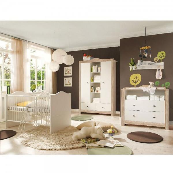 Babyzimmer Paris weiß matt nelson eiche 5 tlg EAN 4260498522729