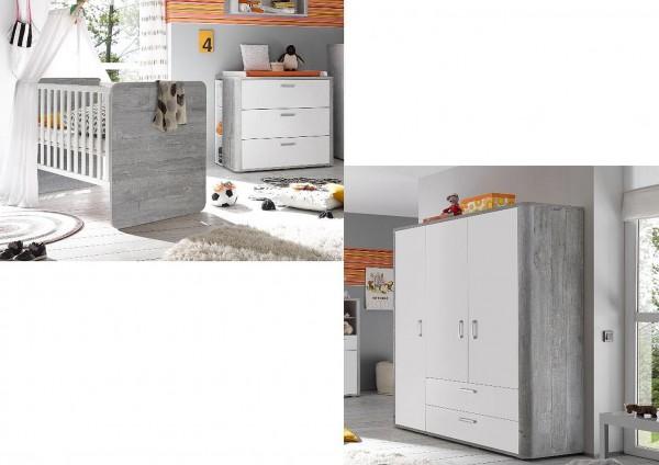 Babyzimmer Frieda Set 1 vintage wood grey weiß matt lack 4 tlg