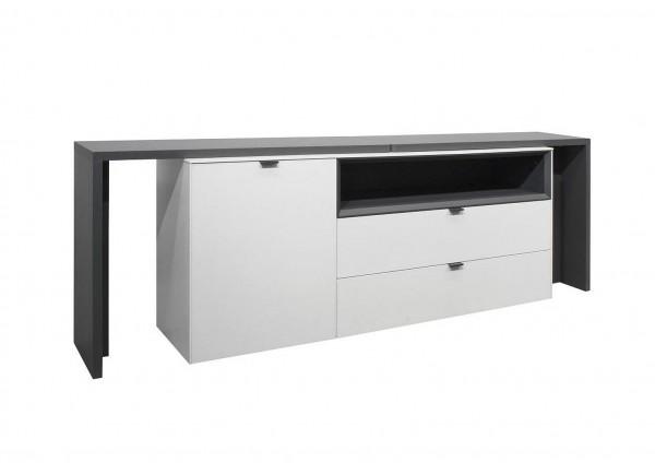 Micelli Sideboard 0730 12-T weiss matt anthrazit matt 240x77x41 cm