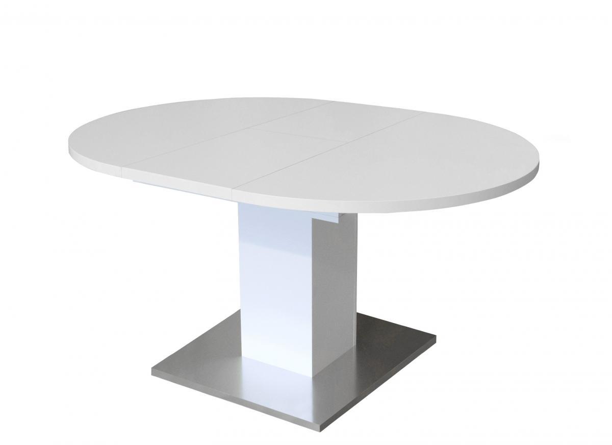esstisch rund 0588 104 weiss matt edelstahloptik b h 104 144 x 76 cm. Black Bedroom Furniture Sets. Home Design Ideas