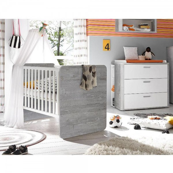 Babyzimmer F Zwillinge Frieda Set 7 Vintage Wood Grey Weiss Matt