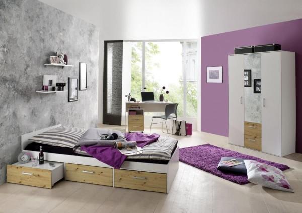 Jugendzimmer Berlin weiß matt asteiche 6-tlg. EAN 4260498522767