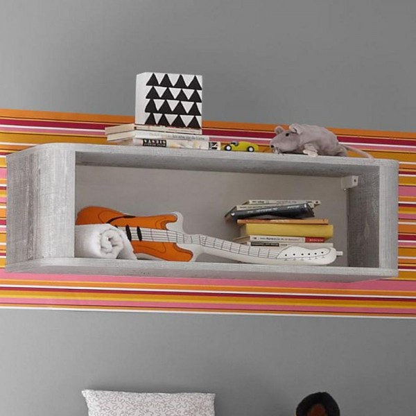 Frieda Hängeregal 0474_00 vintage wood grey weiß matt 90 x 31 x 32 cm