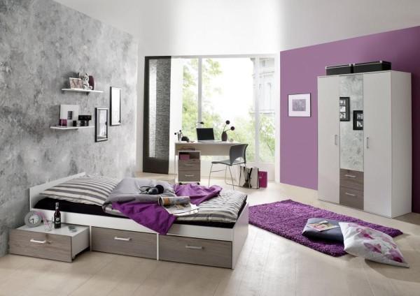Jugendzimmer Berlin weiß matt eiche nelson 6-tlg. EAN 4260498522767
