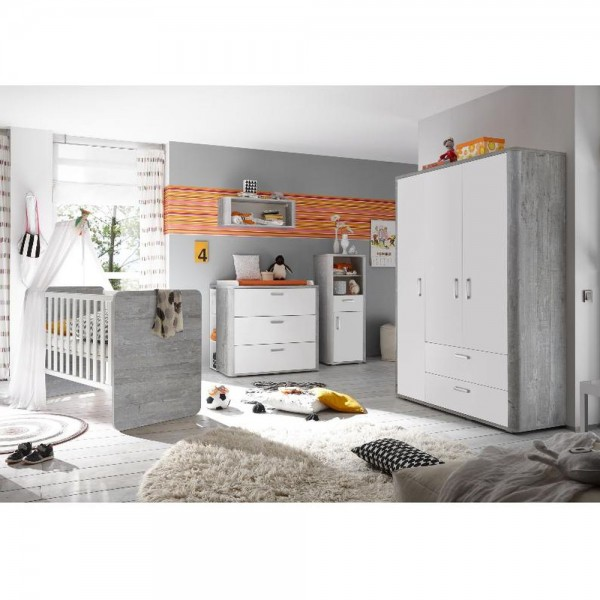 Babyzimmer f. Zwillinge Frieda Set 6 vintage wood grey weiß matt 10tlg