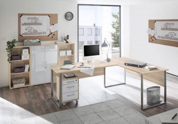 Bürozimmer Office Lux Set 2 eiche sonoma Glas weiss 5 tlg