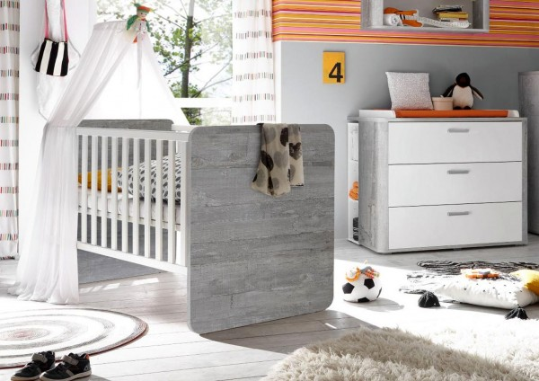 Babybett und Wickelkommode Set Frieda vintage wood grey weiß matt 3tlg
