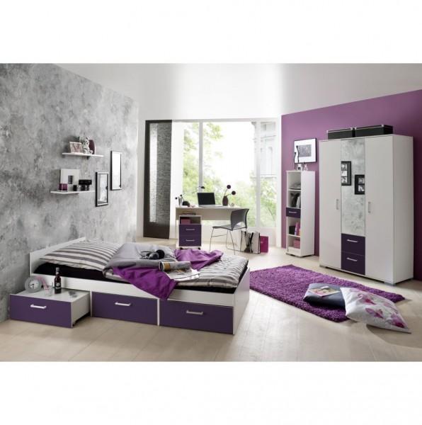 Jugendzimmer Steffi Restposten ohne Rollcontainer Tisch Ablage weiß lila 3tlg