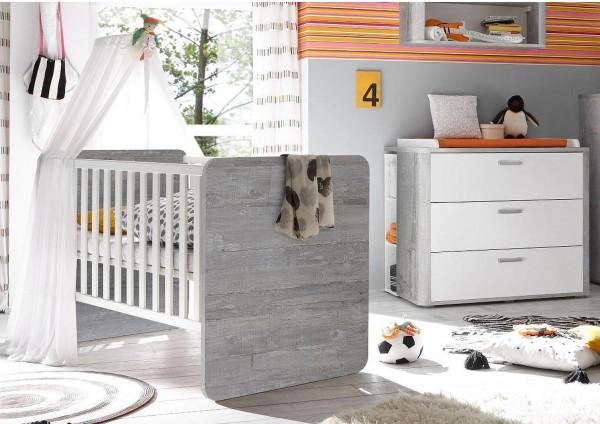 Babyzimmer Frieda Set 2 vintage wood grey weiß matt lack 5 tlg