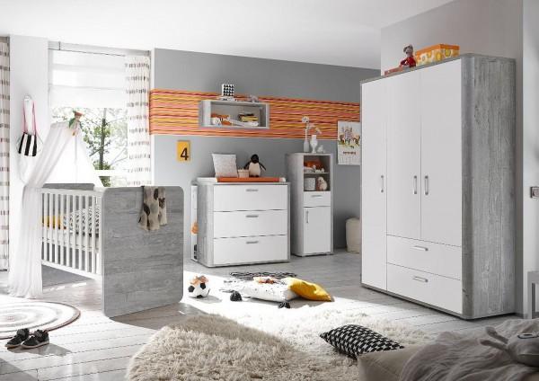 Babyzimmer Zwillinge Frieda Set 5 vintage wood grey weiß matt 9tlg