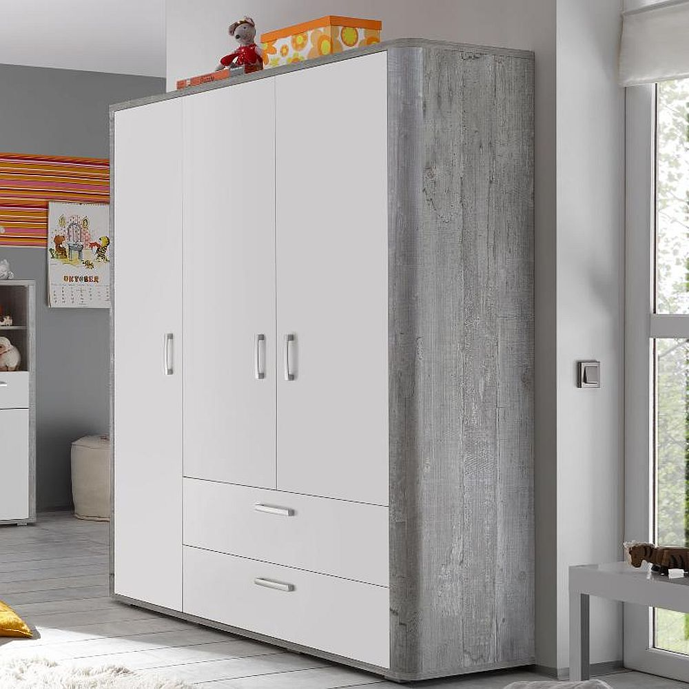 frieda kleiderschrank 0472 32 vintage wood grey wei matt lack. Black Bedroom Furniture Sets. Home Design Ideas