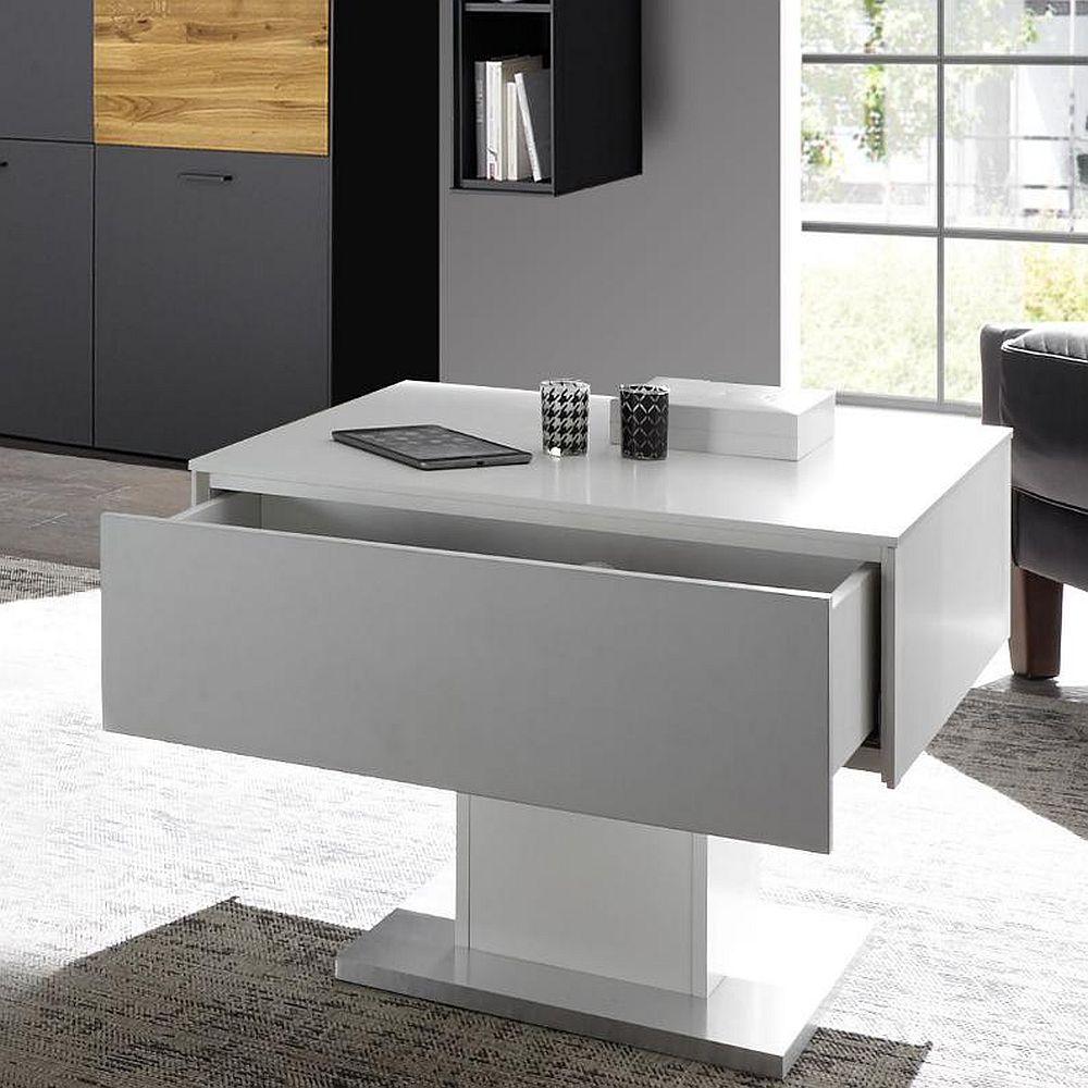 arizona couchtisch 0755 ct 01 weiss matt lack edelstahloptik. Black Bedroom Furniture Sets. Home Design Ideas