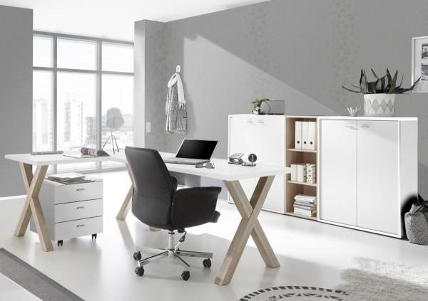 Bürozimmer Mister Office Büro Set 2 weiss matt eiche sägerau 5 tlg