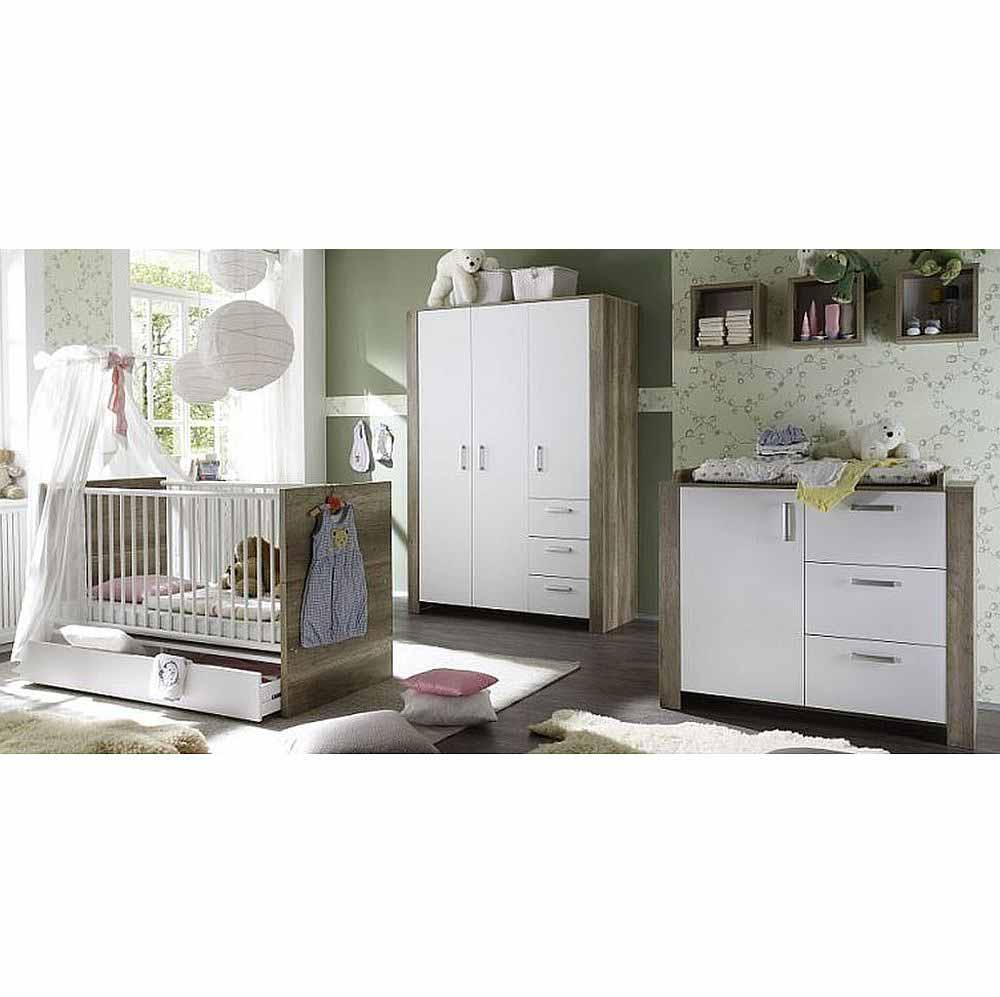 babyzimmerset nick set 2 wildeiche tr ffel weiss matt 6 tlg. Black Bedroom Furniture Sets. Home Design Ideas