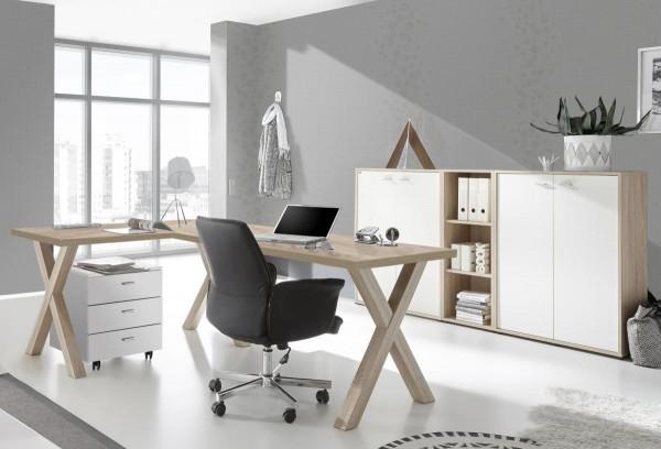 Bürozimmer Mister Office Büro Set 3 eiche sägerau weiss matt 5 tlg
