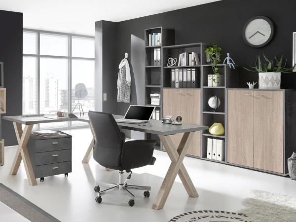 Bürozimmer Mister Office Büro Set 1 graphit eiche sägerau 6 tlg