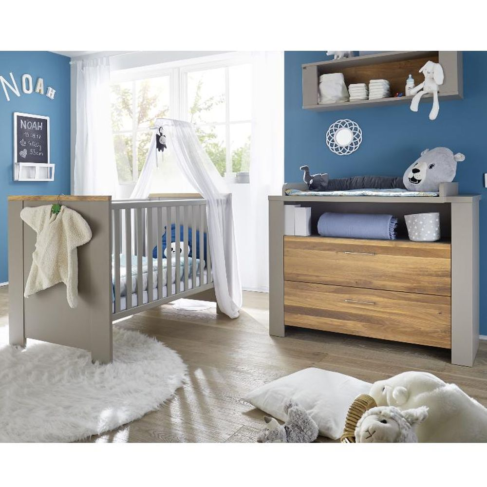 babybett und wickelkommode set tokio taupe wildeiche ge lt 3tlg. Black Bedroom Furniture Sets. Home Design Ideas