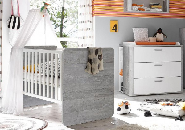 Babyzimmer Zwillinge Frieda Set 7 vintage wood grey weiß matt 5tlg