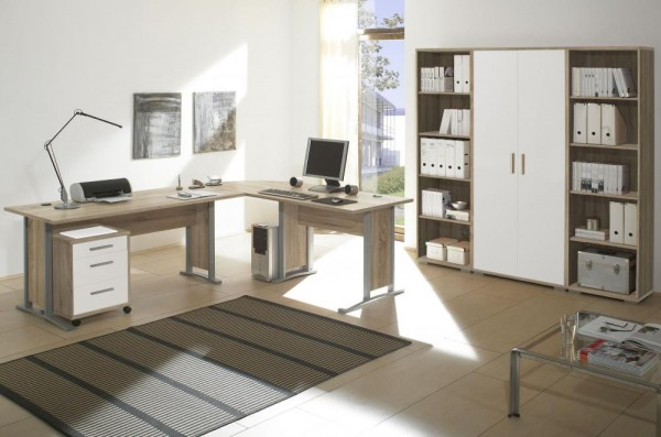 Bürozimmer Office Line Set 3 eiche sonoma weiss 5 tlg