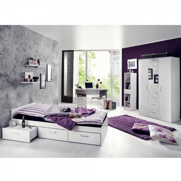 Jugendzimmer Steffi Restposten ohne Rollcontainer/Tisch/Ablage weiß matt 3tlg