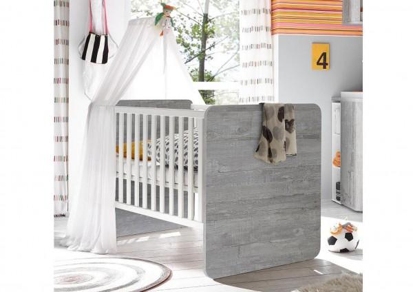 Frieda Babybett 0469_BH-P1+BB-Sp-Breit P2 vintage wood grey weiß 78x93x144