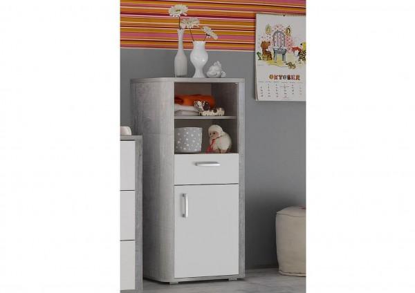 Frieda Beistellschrank 0473_11 vintage wood grey weiß matt 55x128x41