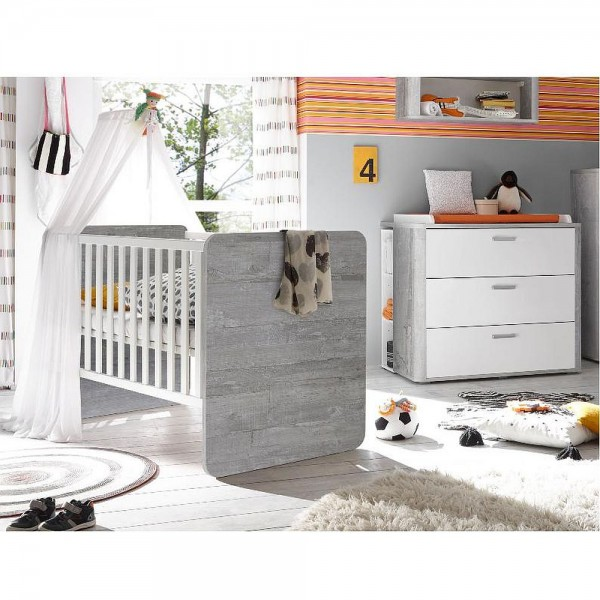 Babyzimmer Frieda Set 2 vintage wood grey weiß matt lack 5 tlg.